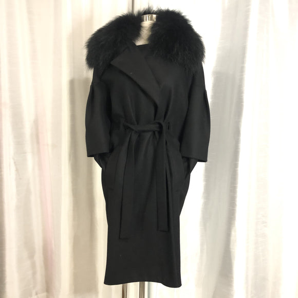 JUST CAVALLI Black Wool Fur Trimmed Jacket Size 40