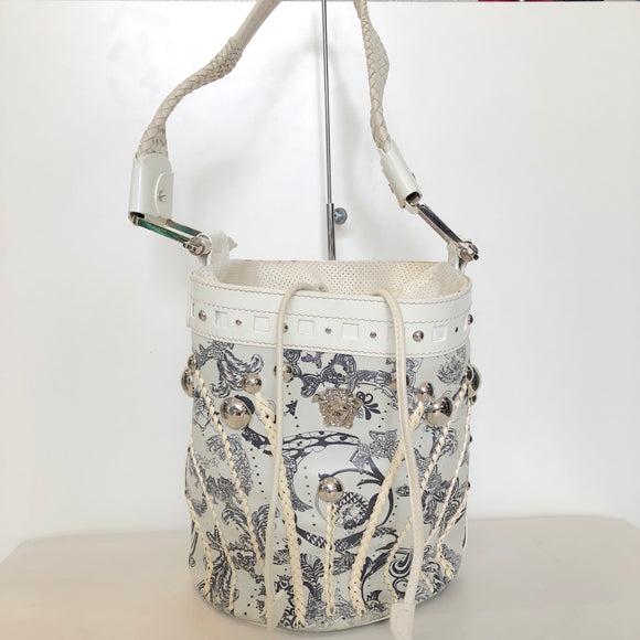 VERSACE Black and White Thriller Bucket Bag