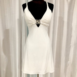 SCALA Short White Form Fitting Gown Size 6