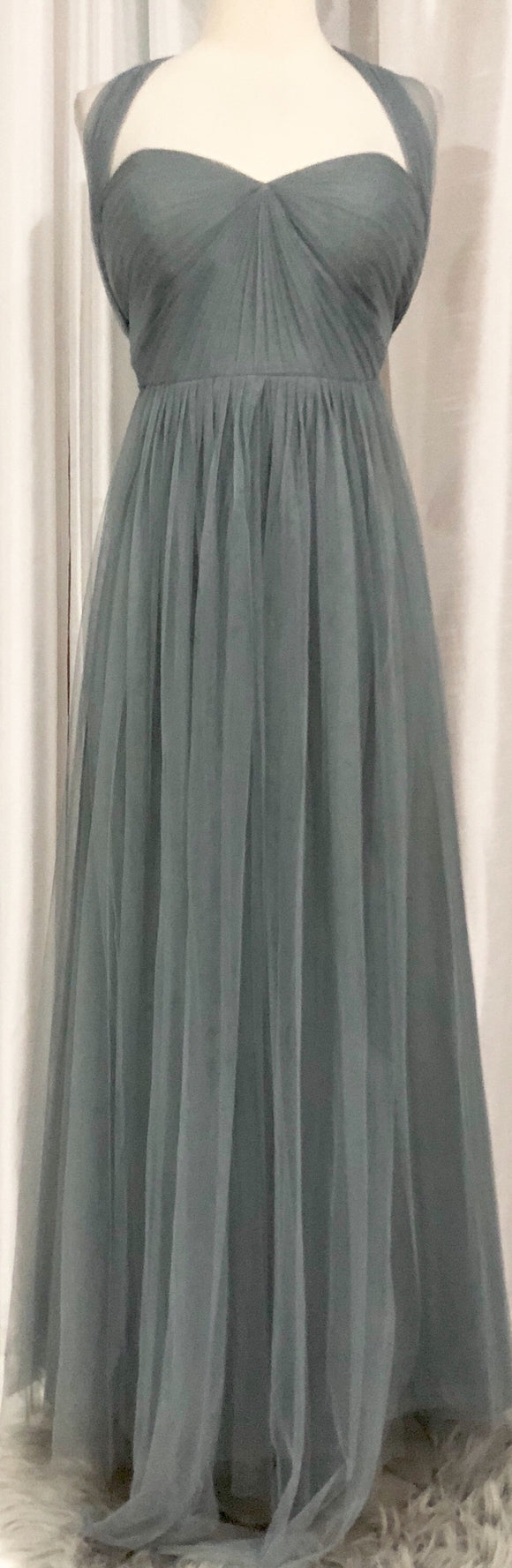 JENNY YOO COLLECTION Grey Long Soft Tulle Julia Gown Size 8