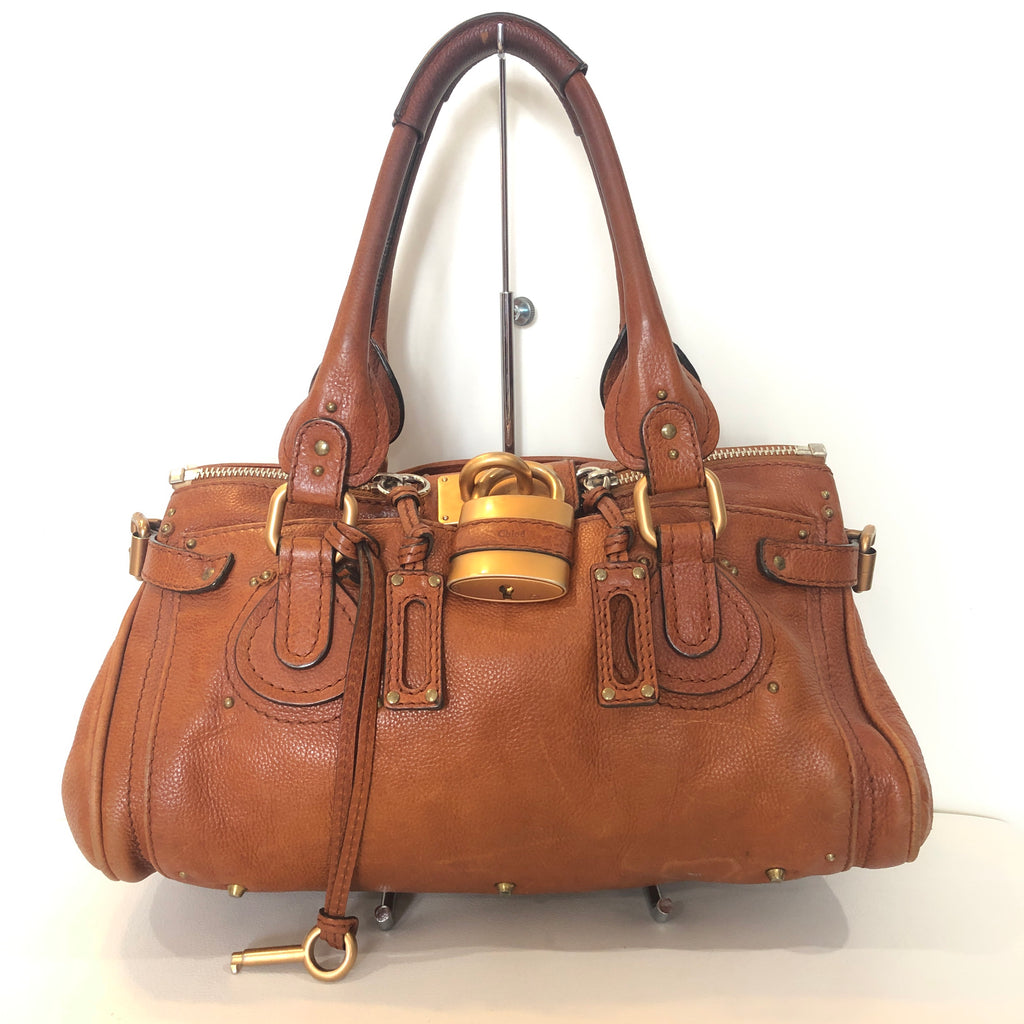 CHLOÉ Paddington Tan Leather Padlock Satchel