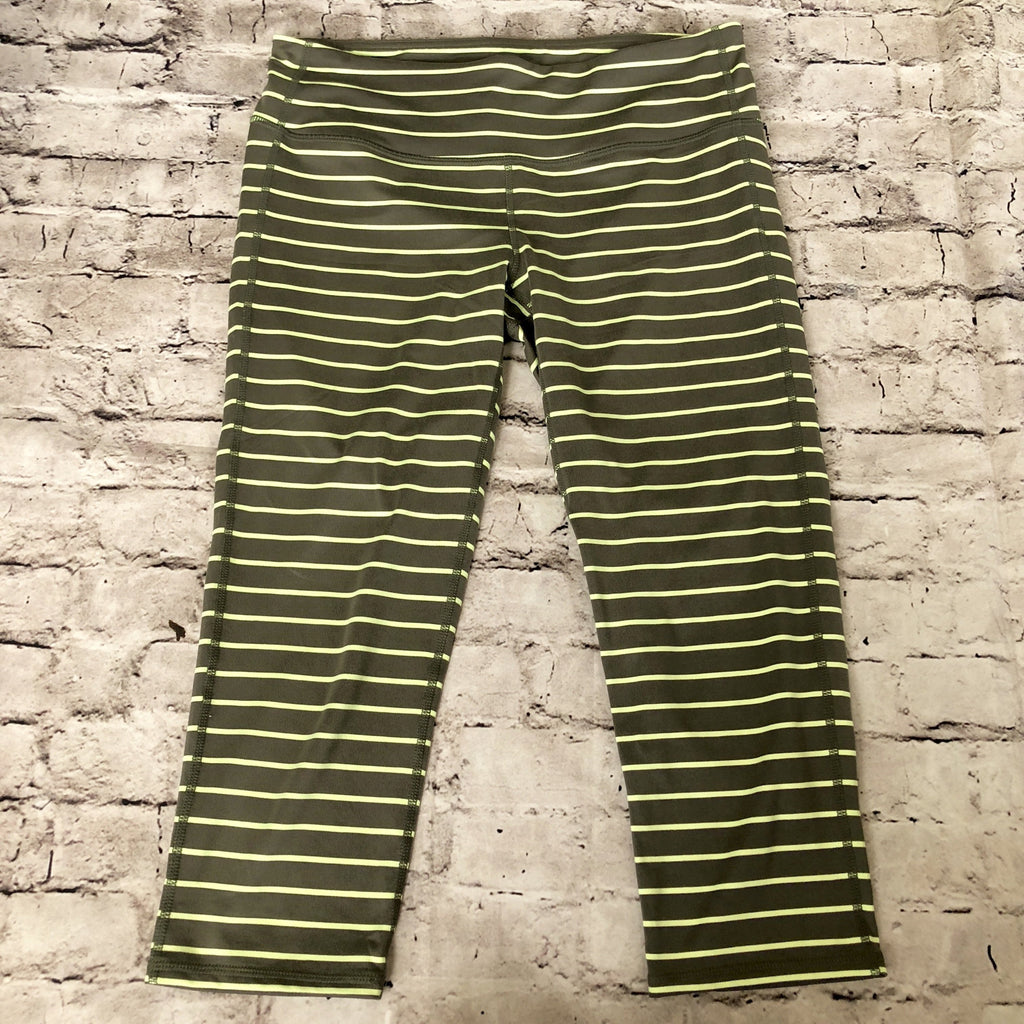ATHLETA Gray & Green Striped Cropped Pants Size M