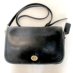 COACH Vintage Black Pocket Flap Shoulder Bag