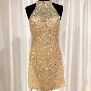 AMELIA COUTURE Short Gold Halter Gown Size 4