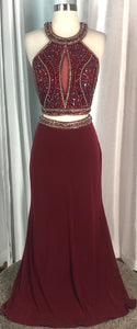 BOUTIQUE Maroon Long Two Piece Dress Size 8