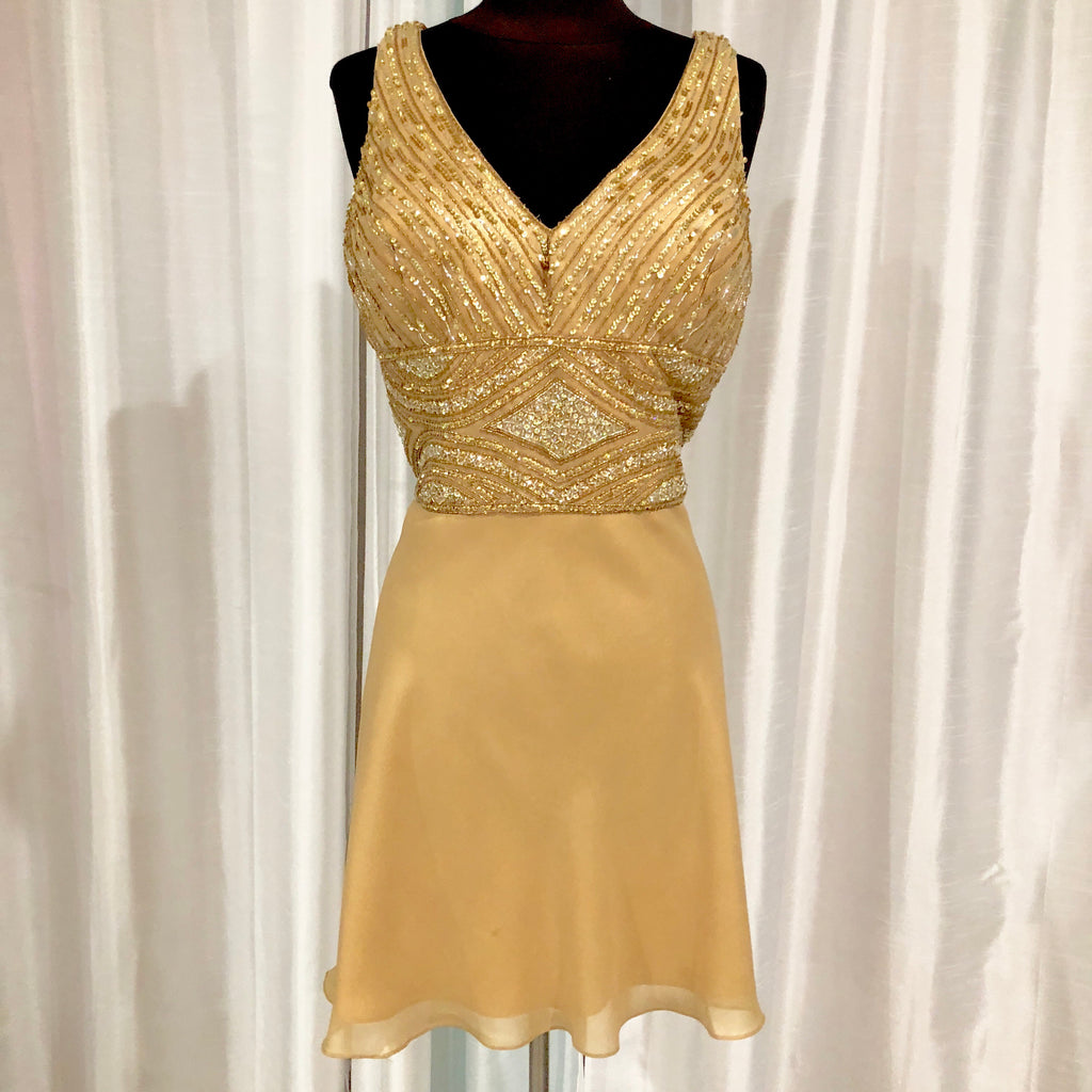 BOUTIQUE Short Gold A-Line Gown Size 16