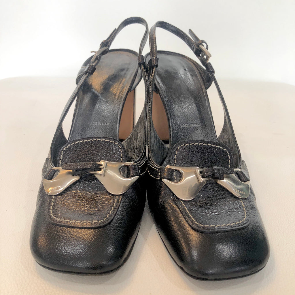 PRADA Black Leather Block Heels Size 38.5
