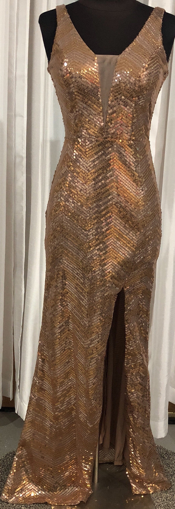 BOUTIQUE Long Sequin Dress Size 3