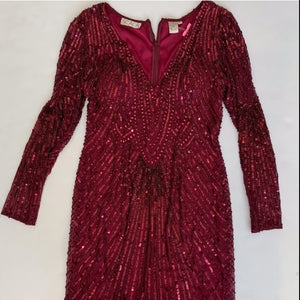 SCALA Short Long Sleeve Beaded Gown Size 12