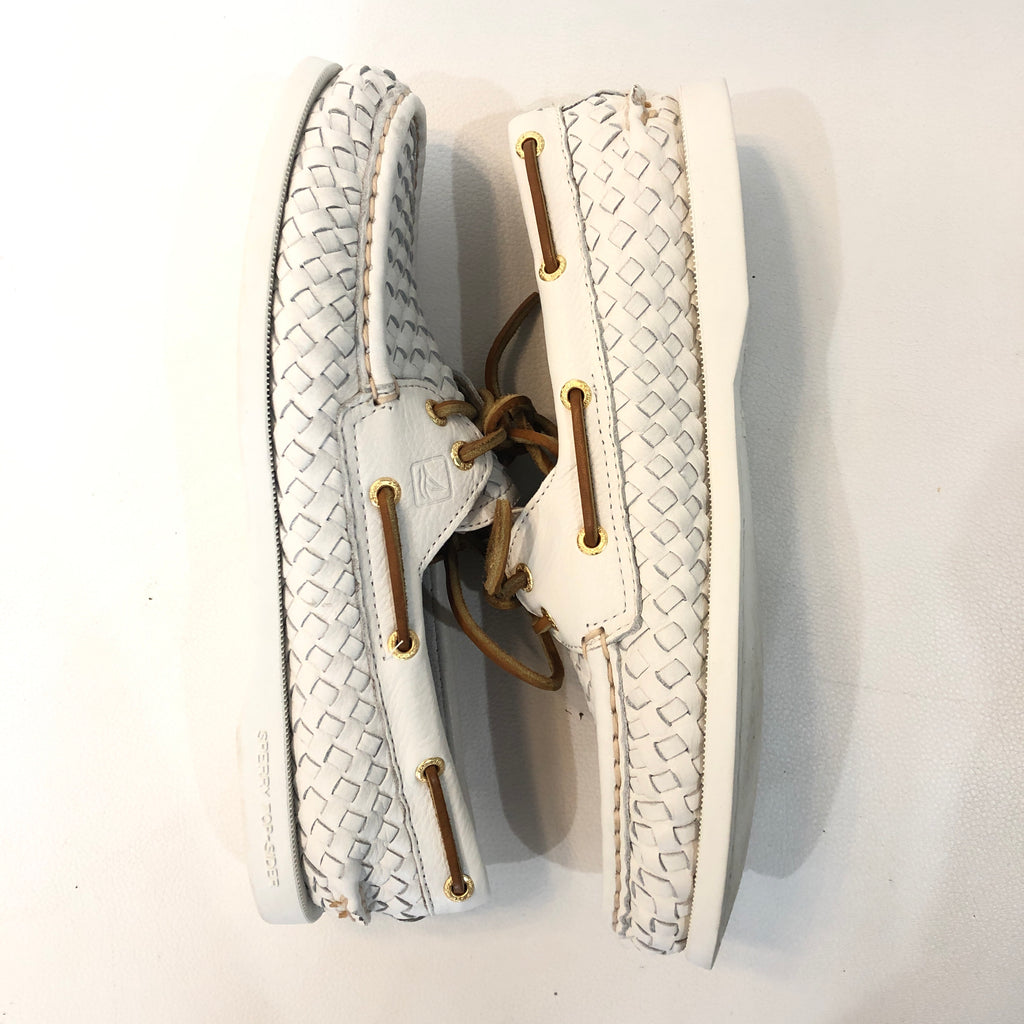 SPERRY White Woven Shoes Size 8.5