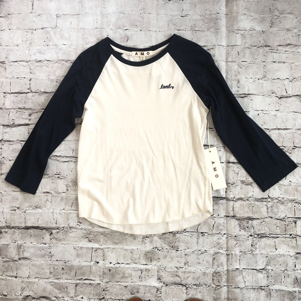 AMO Raglan With Embroidery Baseball T-Shirt Size XS & S NWT