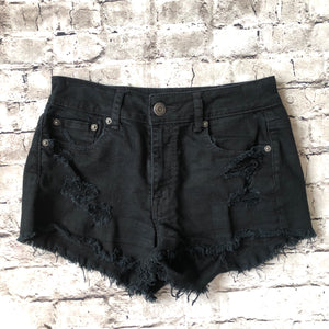 AMERICAN EAGLE Black Distressed Stretch Jean Shorts Size 4