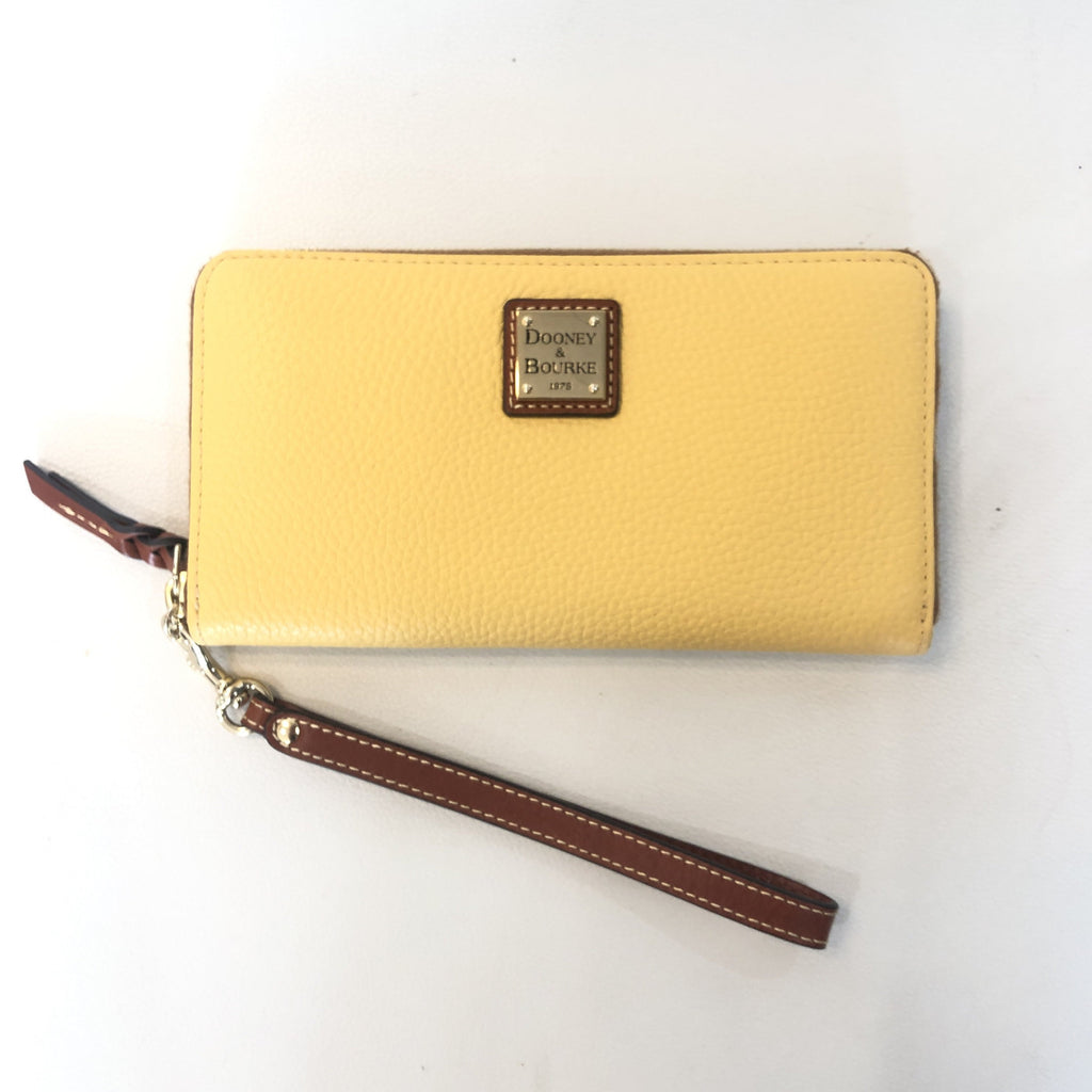 DOONEY & BOURKE Lemon Pebble Grain Large Zip Around Wristlet