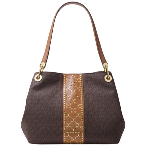 MICHAEL KORS Raven Signature Studded Large Tote Shoulder Bag NWT