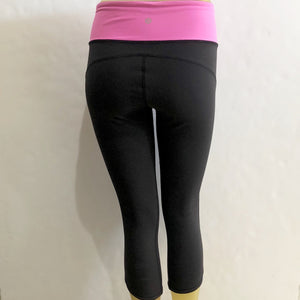 LULULEMON Black and Pink Cropped Leggings Size 6
