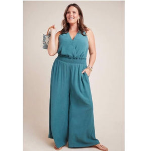 ANTHROPOLOGIE Emerald Green Jumpsuit Size M