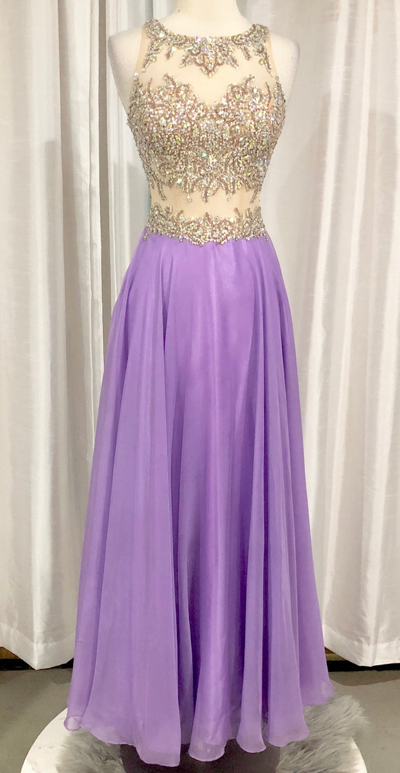 JOVANI Long Lavender & Nude Gown Size 4