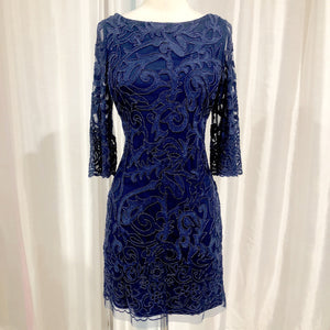 AIDAN MATTOX Short Navy Long Sleeve Gown Size 10