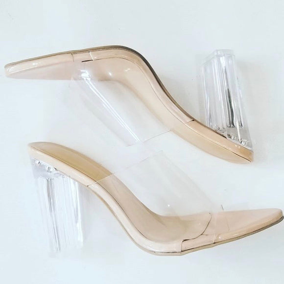 BOUTIQUE Nude & Clear Block Heels Size 6.5
