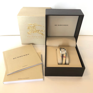 Burberry Women's Heritage Check Strap White Dial Watch