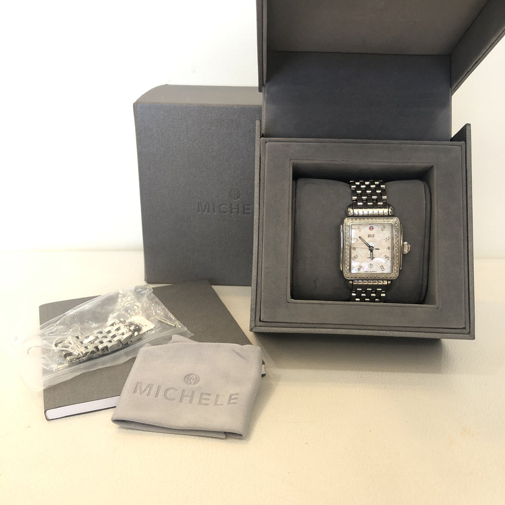 MICHELE Silver Deco Stainless Mother Of Pearl Diamond Dial Watch