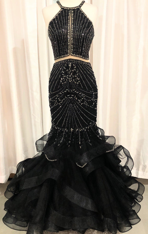 JOVANI BLACK EMBELLISHED HIGH NECK MERMAID DRESS SIZE 2