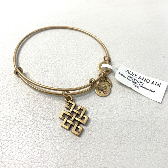 "ALEX AND ANI Gold ""Endless Knot"" Charm Bracelet"