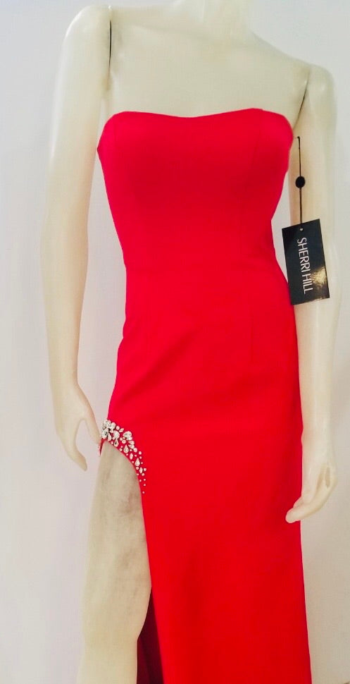 SHERRI HILL Strapless Red Long Formal Dress With Rhinestones