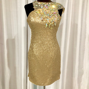 BOUTIQUE Short Gold One Shoulder Form Fitting Gown Size 0