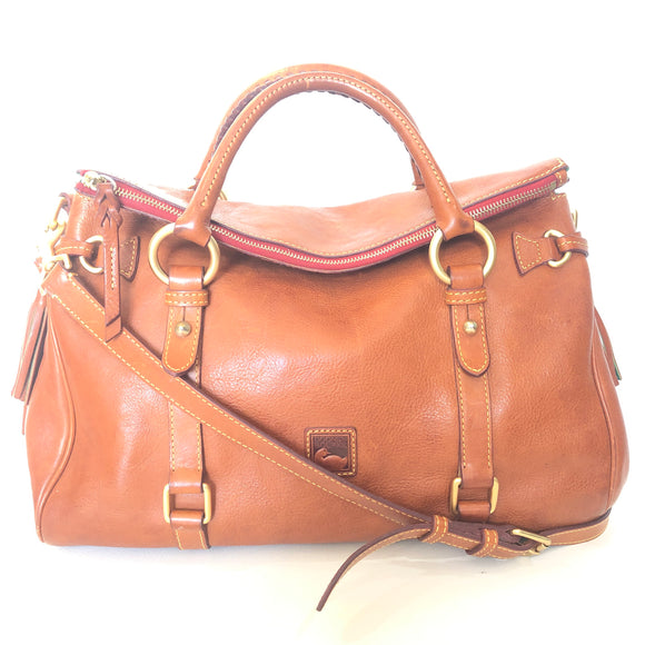 DOONEY & BOURKE Caramel Natural Leather Florentine Medium Satchel