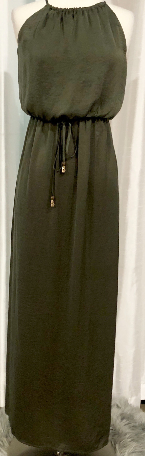 BOUTIQUE Olive Green Maxi Dress Size S NWT