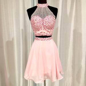 BOUTIQUE Short Light Pink Halter Top Two Piece Gown Size 4