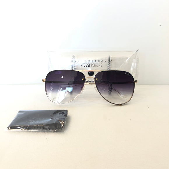 QUAY AUSTRALIA X DESI PERKINS Gold Fade High Key Rimless Sunglasses NWT