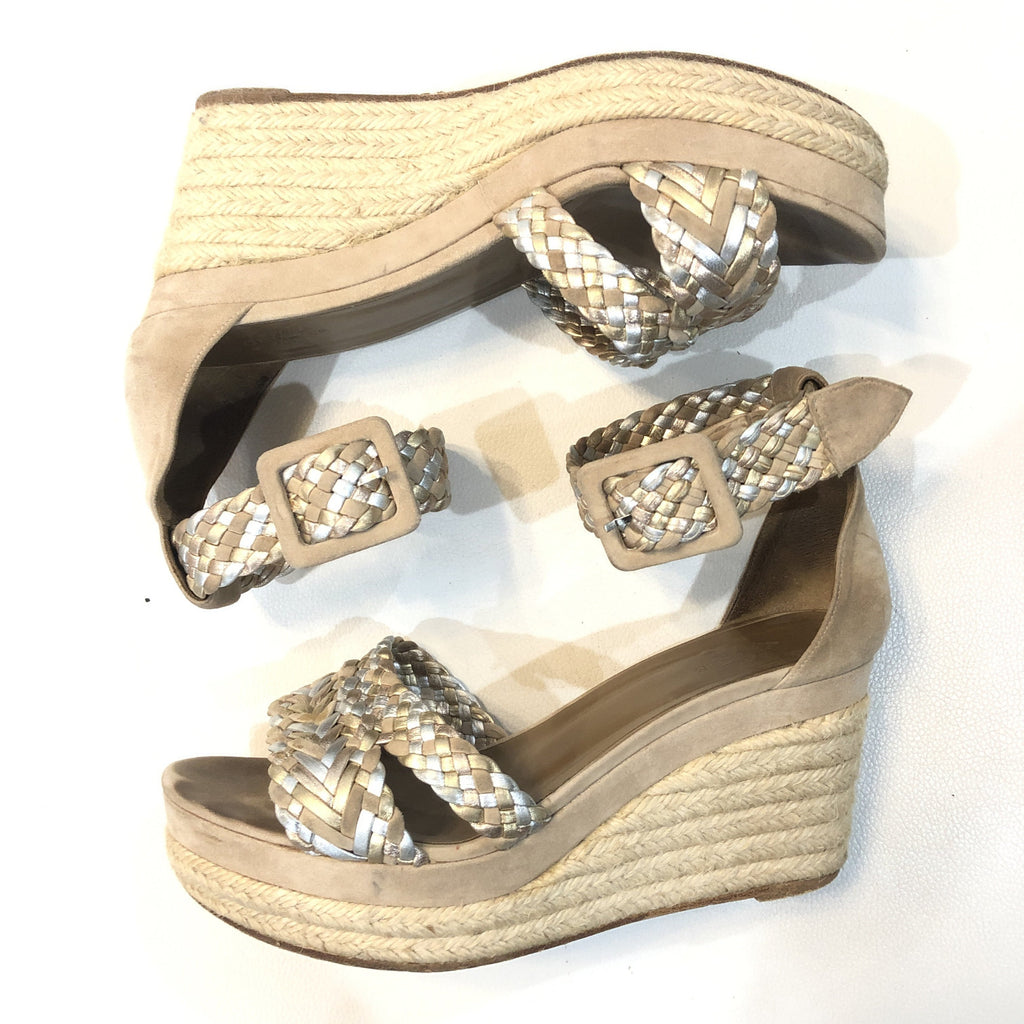 HERMÈS Taupe Suede & Metallic Braided Strap Ines Espadrille Wedges Size 37 (7)