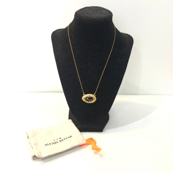 ALEXIS BITTAR Gold & Brown Swarovski Crystal Pendant Necklace