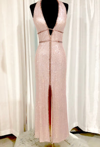 SHERRI HILL Long Blush Fully Sequined Gown Size 2