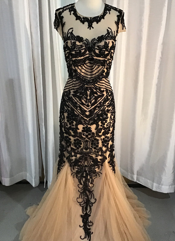 SHERRI HILL BLACK AND NUDE MERMAID DRESS SIZE 12