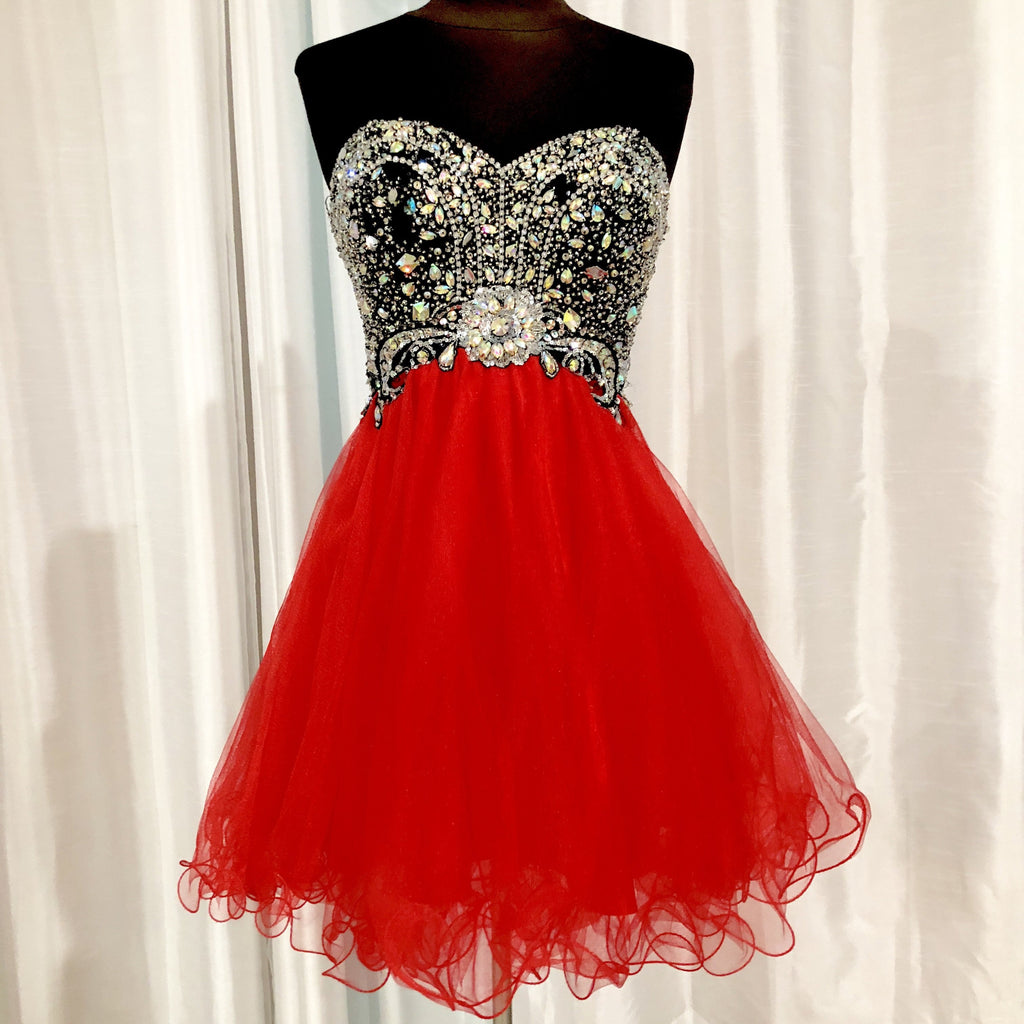 DAVE & JOHNNY Short Strapless Red & Black Gown Size 00
