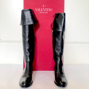 VALENTINO GARAVANI Black Bow Back Knee High Boots Size 39 NWT