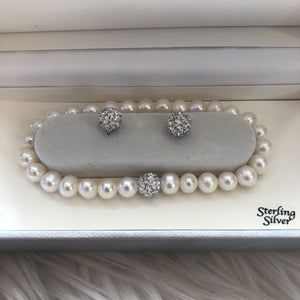 WHITE CULTURED FRESHWATER 7MM PEARL & CRYSTAL COLLAR SET