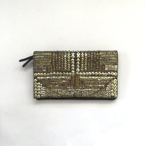 BCBGENERATION Black & Gold Beaded Clutch NWT