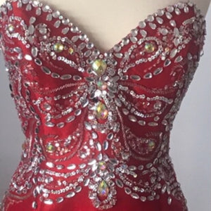 JOVANI Red Mermaid Gown with Embellishments Size 2