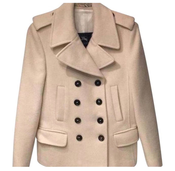 BURBERRY 100% Wool Pea Coat with Brown Buttons Size 6