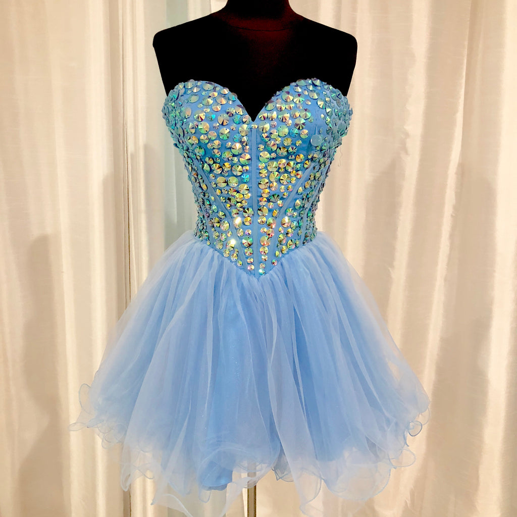 SHERRI HILL Short Strapless Baby Blue Gown Size 6