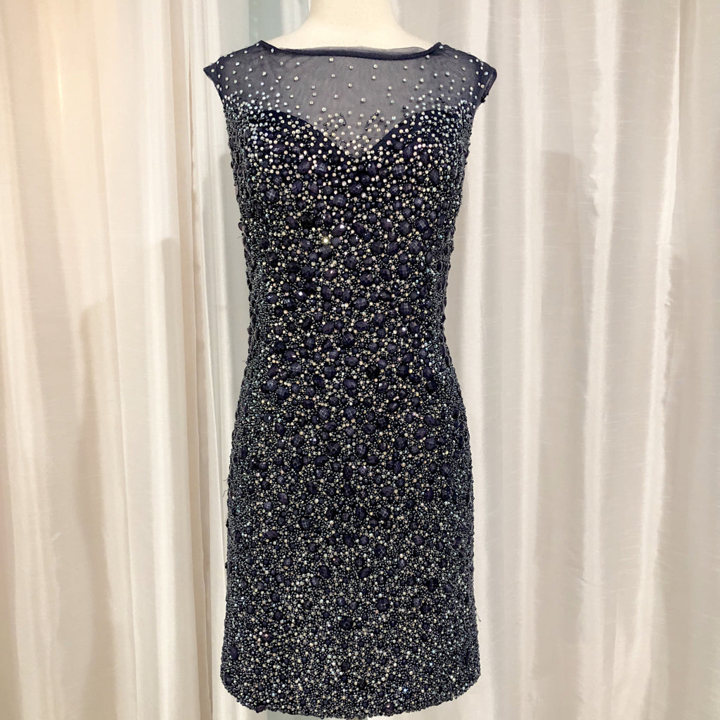 JOVANI Short Navy Completely Embellished Gown Size 16