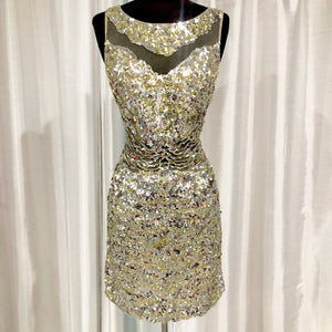 MAC DUGGAL Short Silver & Gold Sequin Gown Size 2