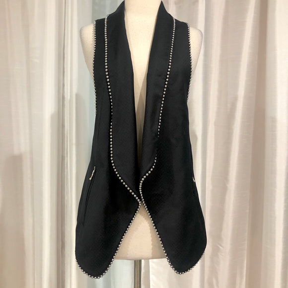 ALEXANDER WANG Black Wool Studded Shawl Collar Vest Size 4
