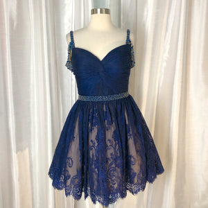 Sherri Hill Short Navy Dress Size 8