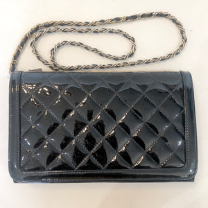 BOUTIQUE Black Patent Leather Quilted Crossbody