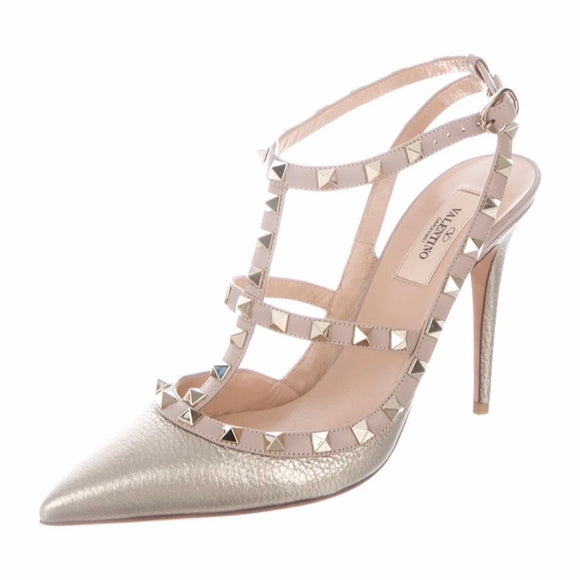 VALENTINO Champagne Rockstud Caged Metallic Napa Leather Pumps Size 37